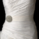 Elegance by Carbonneau Belt-Brooch-65 Belt with Silver Ivory Pearl Round Sunburst Brooch 65