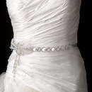 Elegance by Carbonneau Belt-HP-1532 Silver White Vintage Satin Ribbon with Feather Accent Belt or Headpiece 1532