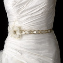 Elegance by Carbonneau Belt-HP-8531-Gold-Ivory Gold Accented Ivory Ribbon Belt or Headband 8531 with Feathers
