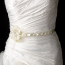 Elegance by Carbonneau Belt-HP-8531-Silver-Ivory Silver Accented White Ribbon Belt or Headband 8531 with Feathers