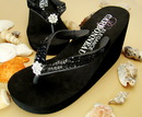 Elegance by Carbonneau Breeze-Black Breeze ~ Black High Wedge Bridal Flip Flops with Sequins & Crystals