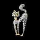 Elegance by Carbonneau Brooch-101-G-Clear Gold Trimmed Silver Clear Cat w/ Green Eyes Brooch 101