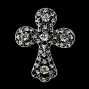 Elegance by Carbonneau Brooch-105-AS-Clear Antique Silver Clear Rhinestone Cross Brooch 105