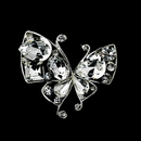Elegance by Carbonneau Brooch-111-AS-Clear Antique Silver Clear Rhinestone Butterfly Brooch 111