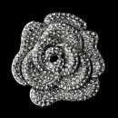 Elegance by Carbonneau Brooch-113-AS-Clear Antique Silver Rhinestone Flower Brooch 113