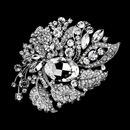 Elegance by Carbonneau Brooch-129-AS Antique Silver Clear Rhinestone Brooch 129