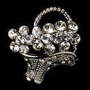 Elegance by Carbonneau Brooch-135-AS-Clear * Antique Silver Clear Rhinestone Flower Basket Pin Brooch 135