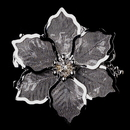 Elegance by Carbonneau Brooch-145-AS-Clear * Antique Silver Mesh Flower with Rhinestone Brooch 145