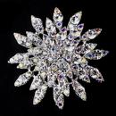 Elegance by Carbonneau Brooch-165-AS-AB Antique Silver Clear & AB Rhinestone Brooch 165