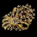 Elegance by Carbonneau Brooch-17-G-Clear Elegant Vintage Crystal Bridal Pin for Hair or Gown Brooch 17 Gold Clear
