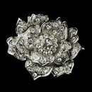 Elegance by Carbonneau Brooch-184-AS-Clear Antique Silver Clear Rhinestone Flower Bridal Brooch 184