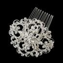 Elegance by Carbonneau Comb-7387-S-Clear Silver Clear Swarovski Crystal & Rhinestone Side Comb 7387