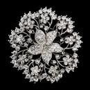 Elegance by Carbonneau Brooch-193-AS-Clear Antique Silver Clear Rhinestone Brooch 193