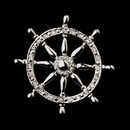 Elegance by Carbonneau Brooch-195-AS-Clear * Antique Silver Clear Ship Wheel with Rhinestones Brooch 195