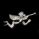 Elegance by Carbonneau Brooch-196-AS-Clear * Antique Silver Clear Rhinestone Encrusted Angel Brooch 196