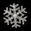 Elegance by Carbonneau Brooch-197-AS-Clear Antique Silver Clear Rhinestone Snowflake Brooch 197