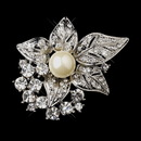 Elegance by Carbonneau Brooch-208-AS-DW Antique Silver Clear w/ Rhinestones and Diamond White Pearl Accent Brooch 208