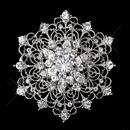 Elegance by Carbonneau Brooch-216-AS-Clear Silver Clear Rhinestone Vintage Swirl Adorn Bridal Brooch 216