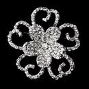 Elegance by Carbonneau Brooch-220-AS-Clear Antique Silver Clear Rhinestone Flower Brooch 220