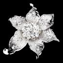Elegance by Carbonneau Brooch-223-AS-Clear Antique Silver Clear Rhinestone Flower Brooch 223