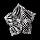 Elegance by Carbonneau Brooch-224-AS-Clear Antique Silver Clear Rhinestone Flower Brooch 224
