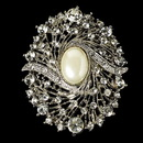 Elegance by Carbonneau Brooch-28-AS-Ivory Elegant Vintage Crystal Bridal Pin for Hair or Gown Brooch 28 Antique Silver Ivory