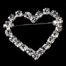 Elegance by Carbonneau Brooch-30022-S-Clear Brooch 30022 Silver Rhinestone Heart