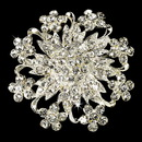 Elegance by Carbonneau Brooch-3166-S-Clear Magnificent Silver Rhinestone Floral Crystal Brooch 3166