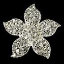 Elegance by Carbonneau Brooch-3174-S-Clear Silver Rhinestone Flower Bridal Brooch 3174