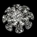 Elegance by Carbonneau Brooch-33-AS-Clear Antique Silver Ruffle Rhinestone Blossom Bridal Brooch 33