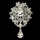 Elegance by Carbonneau Brooch-3438-S-Clear Silver Swarovski Crystal Dangle Brooch 3438