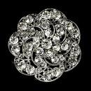 Elegance by Carbonneau Brooch-37-AS-Clear Vintage Antique Silver and Rhinestone Bridal Brooch 37