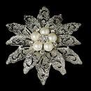Elegance by Carbonneau Brooch-38-AS-DW Vintage Antique Silver and Rhinestone & Diamond White Pearl Bridal Brooch 38