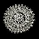 Elegance by Carbonneau Brooch-39-AS-Clear Vintage Antique Silver and Rhinestone Crystal Bridal Brooch 39