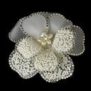 Elegance by Carbonneau Brooch-41-S-Ivory Stunning Modern Unique Flower Hair Clip / Brooch 41 Adorn in Rhinestones Silver Ivory