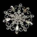 Elegance by Carbonneau Brooch-48-AS-Clear Elegant Rhinestone Glamour Bridal Brooch - Brooch 48 Antique Silver
