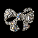 Elegance by Carbonneau Brooch-51-AS-AB Silver Clear AB Bow Brooch Pin 51