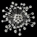 Elegance by Carbonneau Brooch-55-AS-Clear Brooch 55 Antique Silver Rhinestone