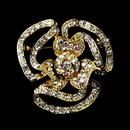 Elegance by Carbonneau Brooch-60-G-AB Gold Clear Aurora Borealis Crystal Flower Brooch 60