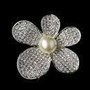 Elegance by Carbonneau Brooch-66-AS-DW Brooch 66 Antique Silver Diamond White Pearls and Rhinestones