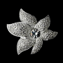 Elegance by Carbonneau Brooch-67-AS-Clear Sparkling Antique Silver Rhinestone or Diamond White Starfish Orchid Brooch 67
