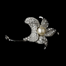 Elegance by Carbonneau Brooch-68-AS-DW Brooch 68 Antique Silver Rhinestones and Diamond White Pearl