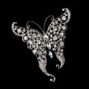 Elegance by Carbonneau Brooch-74-AS-Clear Rhinestone Butterfly Brooch 74 Antique Silver Clear Rhinestones