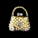 Elegance by Carbonneau Brooch-76-G-Ivory Gold Ivory Pearl Clear Rhinestone Purse Pin Brooch 76