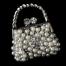Elegance by Carbonneau Brooch-76-AS-DW Brooch 76 Antique Silver Diamond White Pearl and Clear Rhinestone Purse Pin