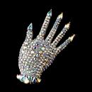 Elegance by Carbonneau Brooch-87-AS-AB Antique Silver Aurora Borealis Rhinestone Hand Brooch 87
