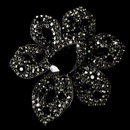 Elegance by Carbonneau Brooch-8798-AS-Black Large Antique Silver Black Rhinestone Celebrity Style Brooch for Gown or Hair - Brooch 8798 ( 2 piecers in Stock )