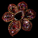 Elegance by Carbonneau Brooch-8798-G-Red Large Gold Multi Red Rhinestone Celebrity Style Brooch for Gown or Hair - Brooch 8798