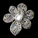 Elegance by Carbonneau Brooch-8798-AS-Clear Antique Silver Clear AB and Black Rhinestone Flower Brooch 8798