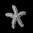 Elegance by Carbonneau Brooch-90-AS-AB Antique Silver Clear Aurora Borealis Rhinestone Starfish Brooch 90